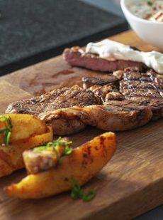 Smokey Ribeye Steaks with Paprika Potatoes