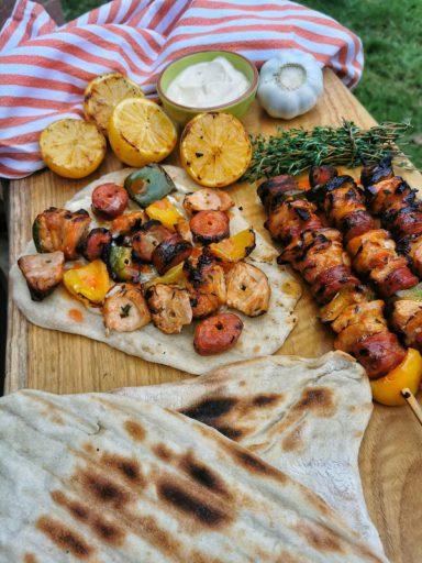 chicken and chorizo kebabs